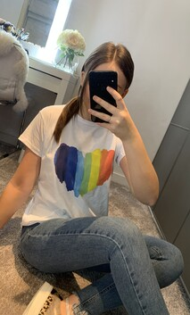 White Rainbow Heart T-Shirt