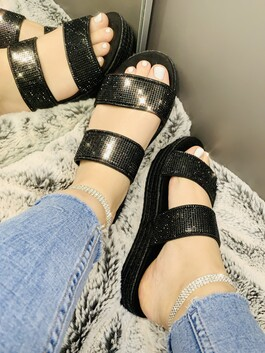 Evie Double Crystal Strap Sliders Black