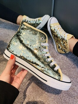 Hi-Top Sequin Trainers Gold