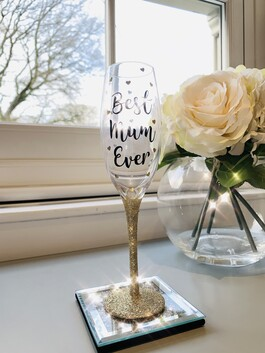 'Best Mum Ever' Glitter Prosecco Glass