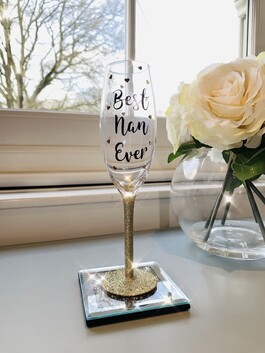'Best Nan Ever' Glitter Prosecco Glass​