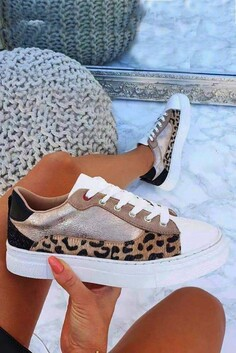 Leopard Metallic Trainers
