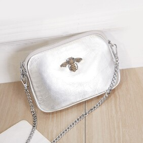 Crystal Bee Silver Leather Pouch