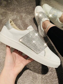 Diamante Trainers in Silver