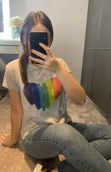 Grey Rainbow Heart T-Shirt
